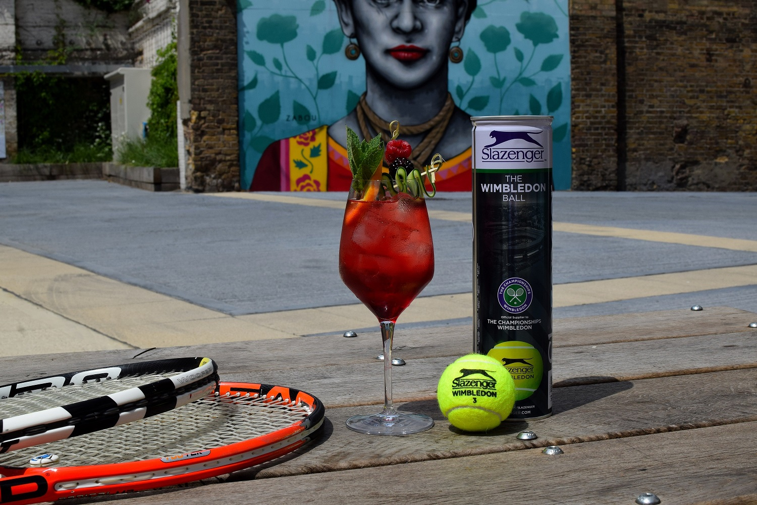 Wimbledon Cocktail and Tennis Rackets and Balls