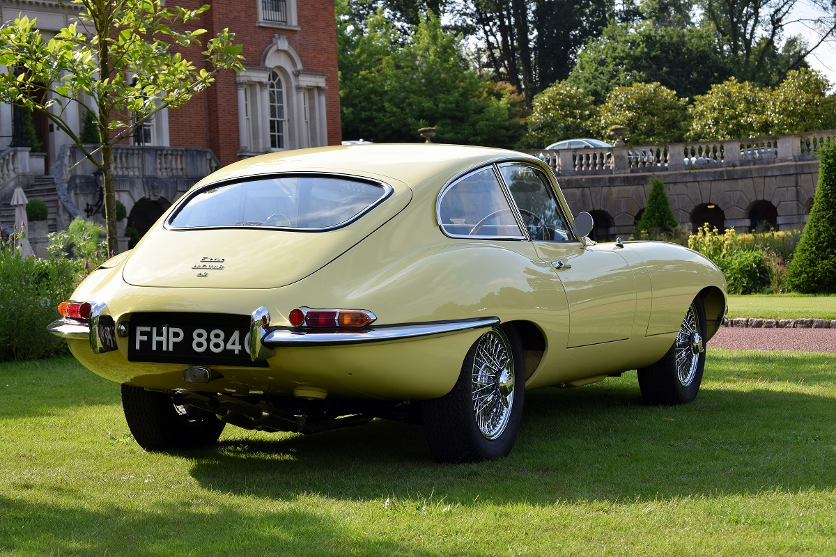 Rear right view of the Jaguar