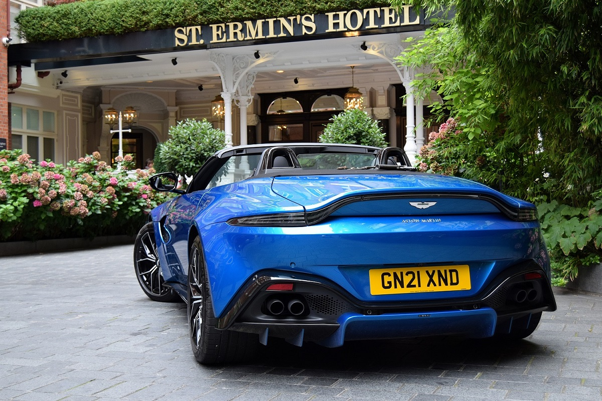 Rear of the Vantage with roof down